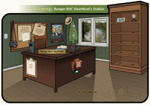 Cartoon image of an office with a desk and ranger uniform.