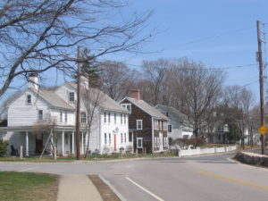 a view of Federal era houses on Main Street in Slatersville, RI
