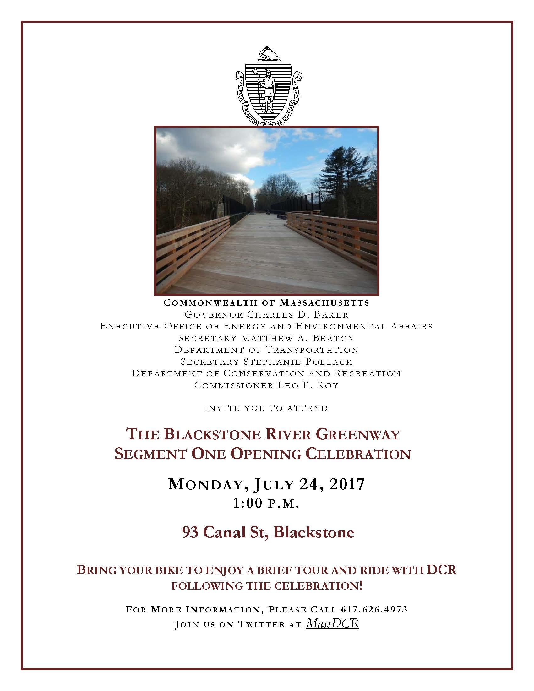 Blackstone River Greenway Segment One Opening Celebration ...