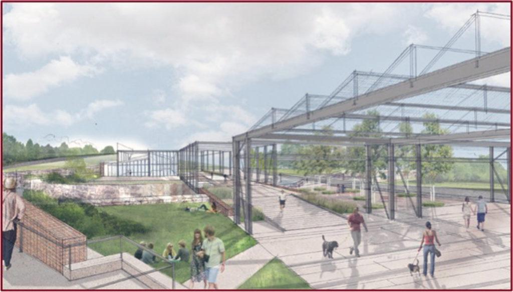 Artist's rendering of the work yard and pedestrian bridge.