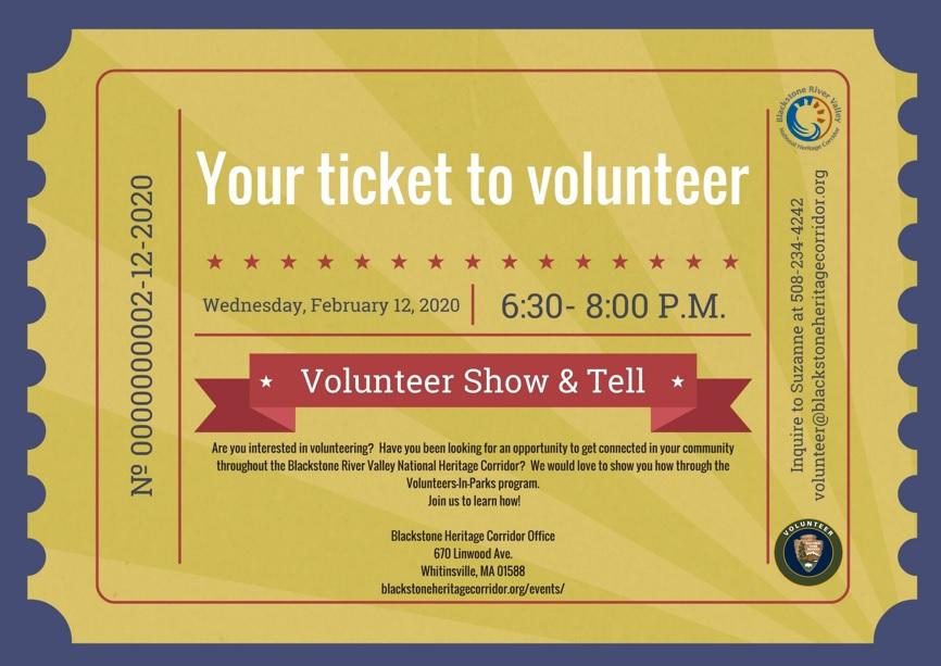 Ticket to Volunteer Feb 12 2020
